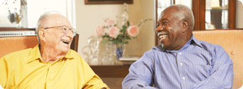 two elderly men happily talking to each other